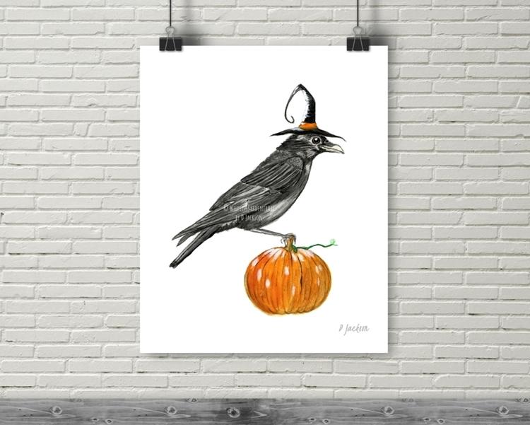 Halloween Witch Crow Watercolor Art Print, 16 x 20 ...