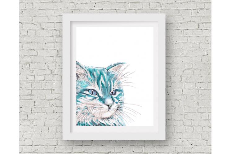 Aqua Blue Cat Watercolor Art Print, 11 x 14
