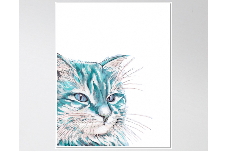 Aqua Blue Cat Watercolor Art Print, 11 x 14