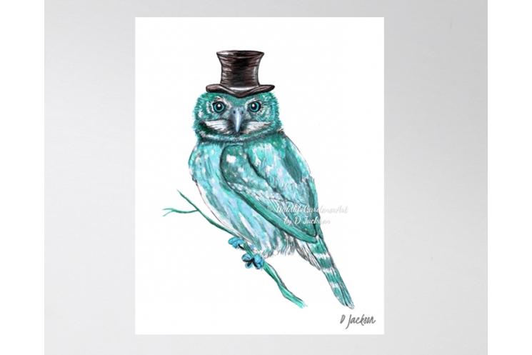 Aqua Blue Owl Watercolor Art Print, 11 x 14, Unframed
