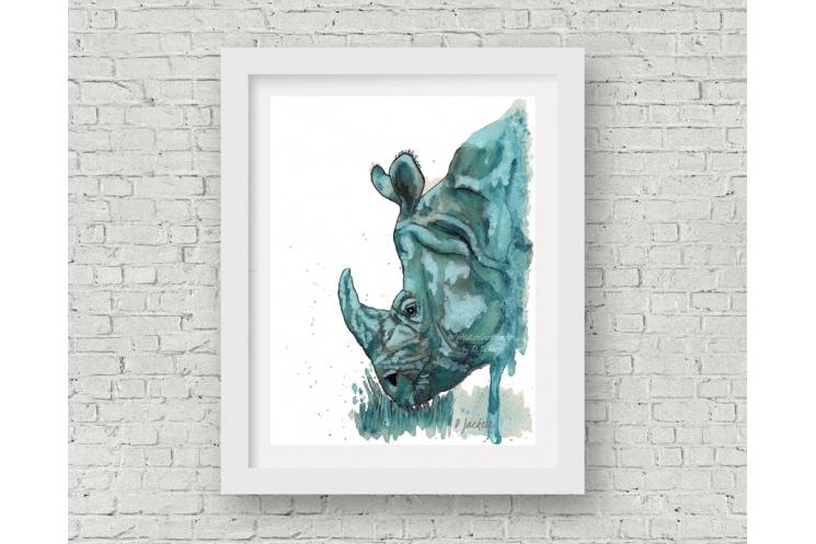 Aqua Rhino Watercolor Art Print, 11 x 14 Unframed