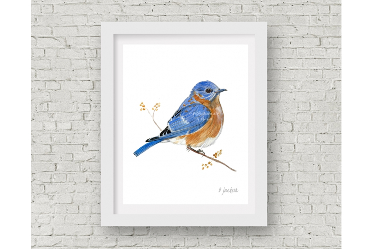 Contemporary Bluebird Watercolor Art Print, 11 x 14