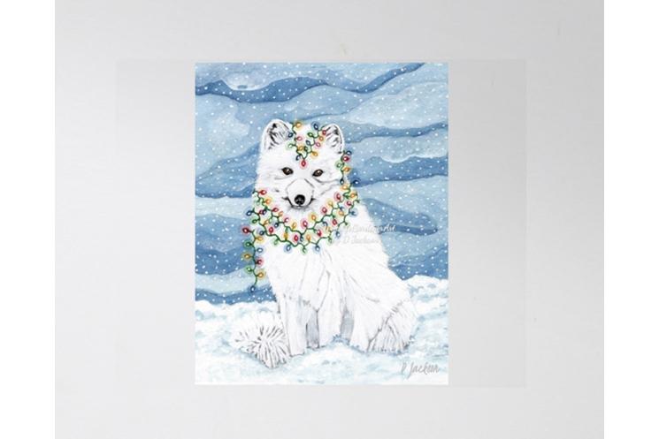 Christmas Lights Arctic Fox Watercolor Art Print, 11 x 14 Unframed