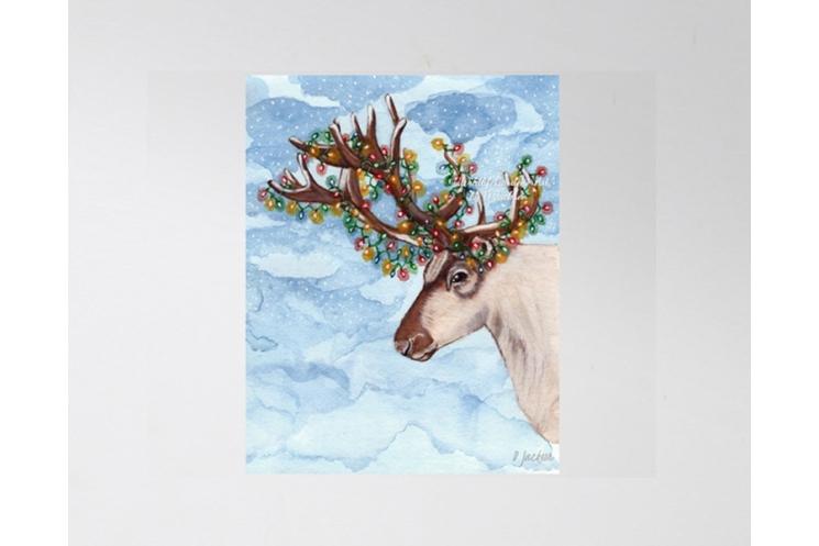 Christmas Lights Reindeer Watercolor Art Print, 11 x 14 Unframed