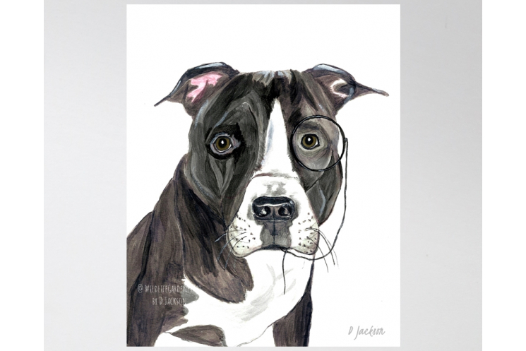Whimsical Pit Bull Watercolor Art Print, 11 x 14