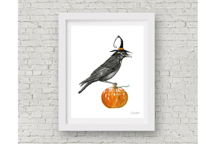Halloween Crow Watercolor Art Print, 11 x 14 Unframed