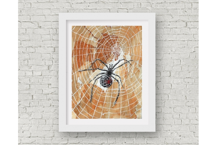 Halloween Spiders Watercolor Art Print, 11 x 14 Unframed