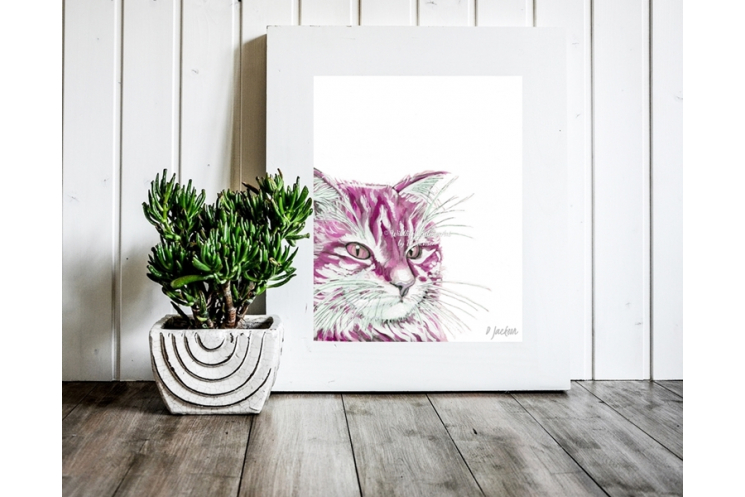 Pink Cat Watercolor Art Print, 11 x 14 Unframed