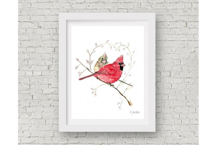 Winter Cardinals Watercolor Art Print, 11 x 14 Unframed