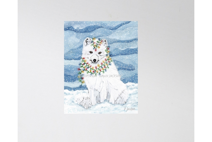 Arctic Fox Christmas Decor, Watercolor Art Print 16 x 20 Unframed