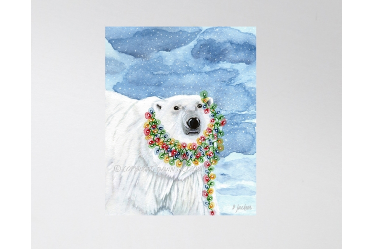 Contemporary Polar Bear Christmas Decor, Watercolor Art Print 16 x 20 Unframed