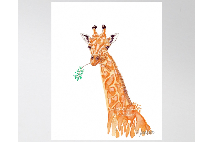 Orange Giraffe Watercolor Art Print, 11 x 14 Unframed