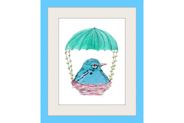 Aqua Blue Bird in Nest Watercolor rt Print
