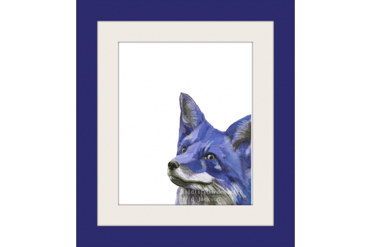 Blue Fox Watercolor Art Print