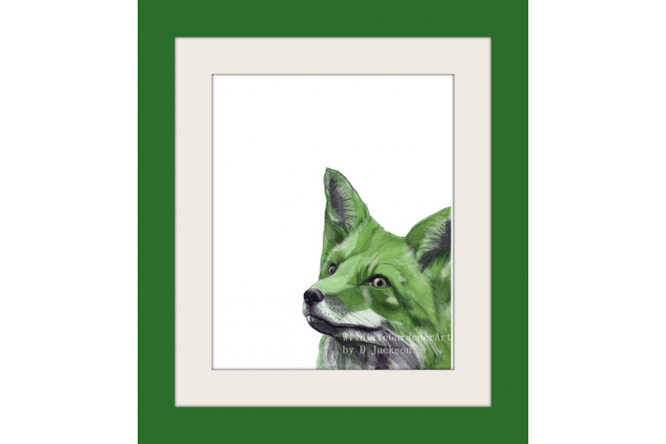 Green Fox Watercolor Art Print