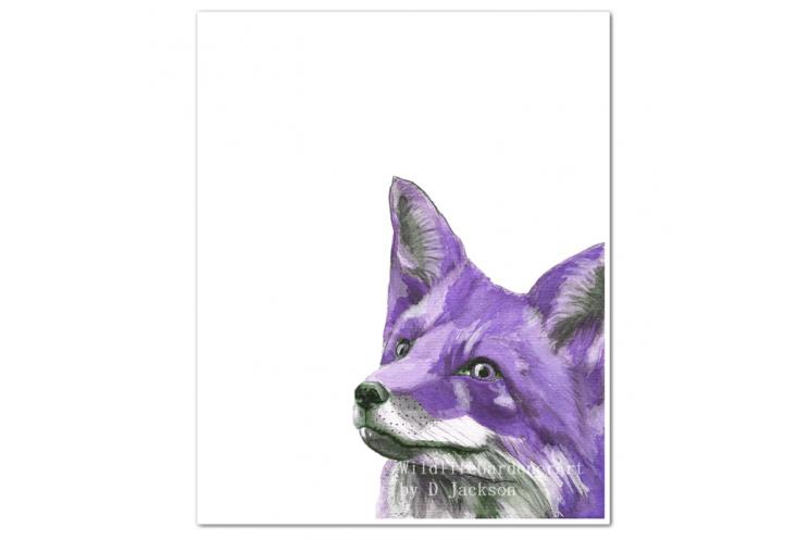 Purple Fox Watercolor Art Print