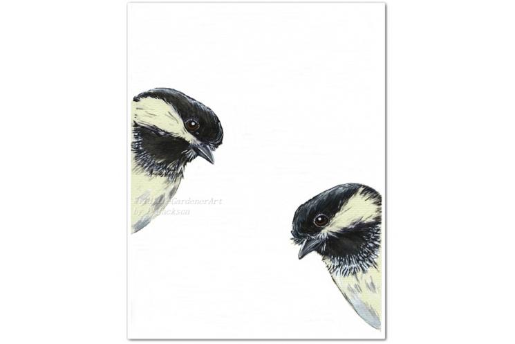 2 Chickadees Watercolor Art Print