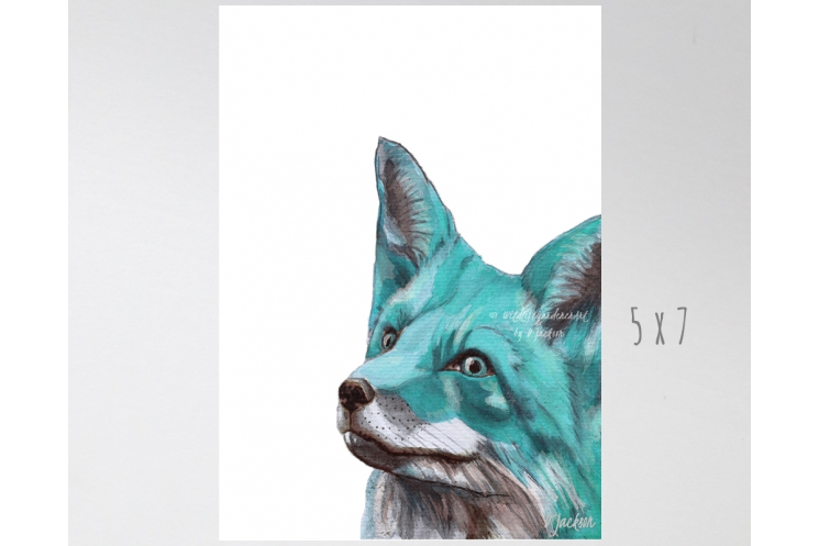 Aqua Blue Fox Watercolor Art Print