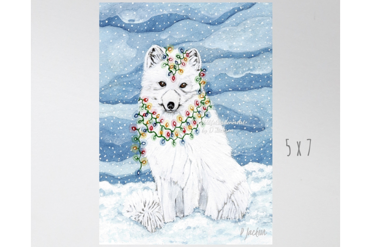 Christmas Lights Arctic Fox Watercolor Art Print
