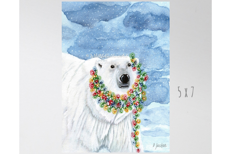 ChristmasLights  Polar Bear Watercolor Art Print