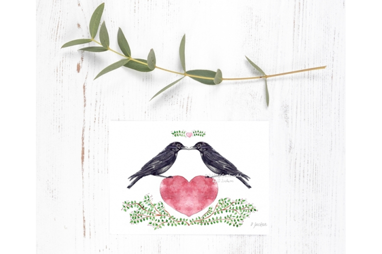 Crows Heart Watercolor Art Print