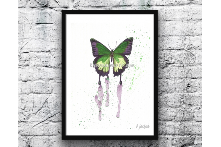 Green Butterfly Watercolor Art Print