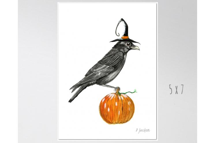 Halloween Crow Watercolor Art Print 5 x 7