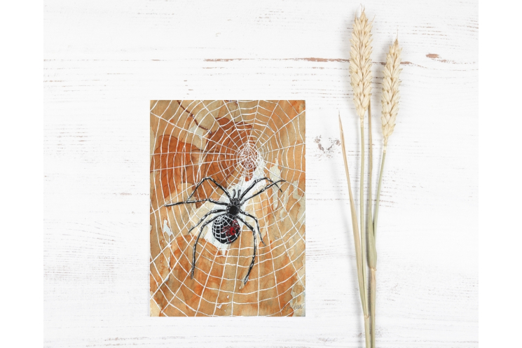 Halloween Spiders and Webs Watercolor Art Print