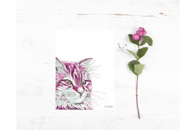 Pink Cat Watercolor Art Print
