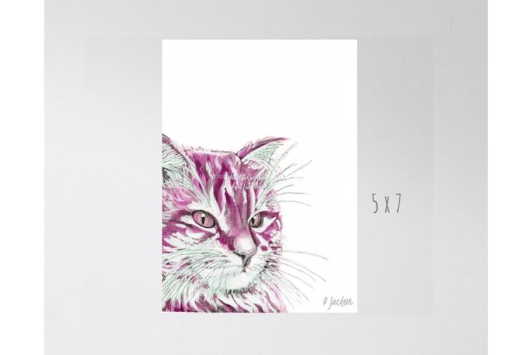 Pink Cat Watercolor Art Print