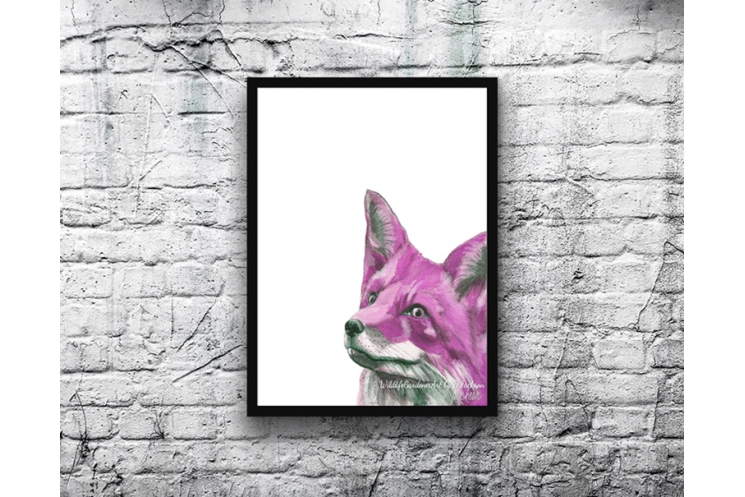 Pink Fox Watercolor Art Print