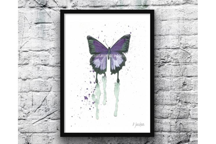 Purple Butterfly Watercolor Art Print