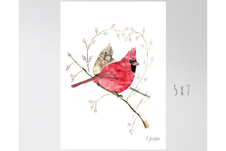 Winter Cardinals Watercolor Bird Art Print