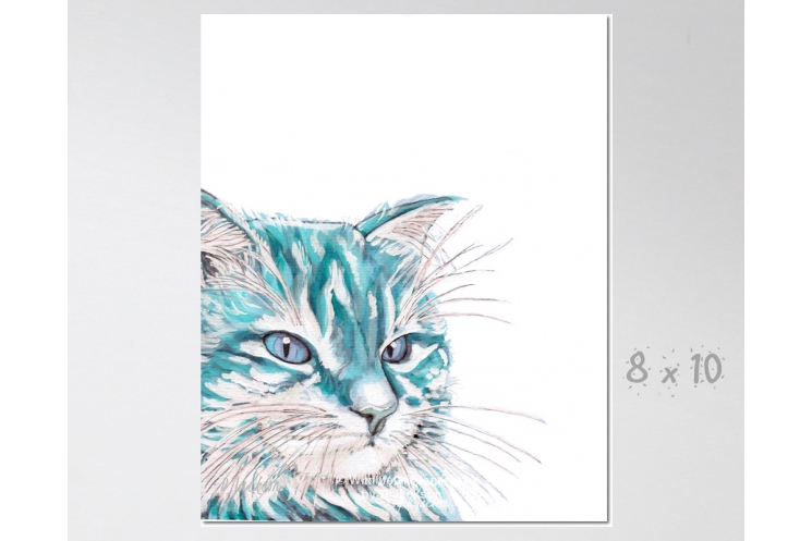 Aqua Blue Watercolor Cat Art Print 8 x 10