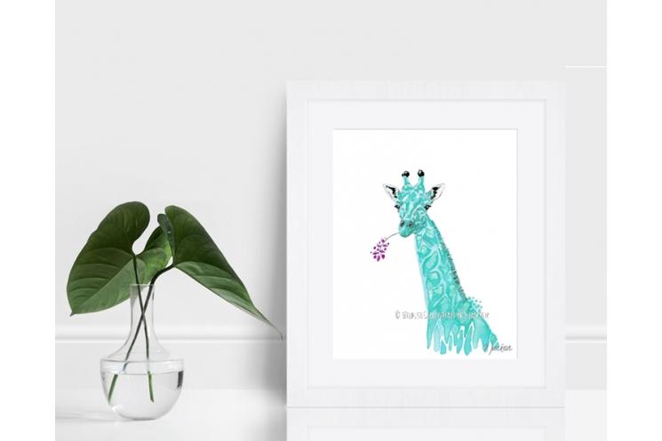 Aqua Blue Giraffe Watercolor Art Print