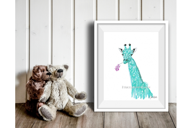 Aqua Blue Giraffe Watercolor Art Print