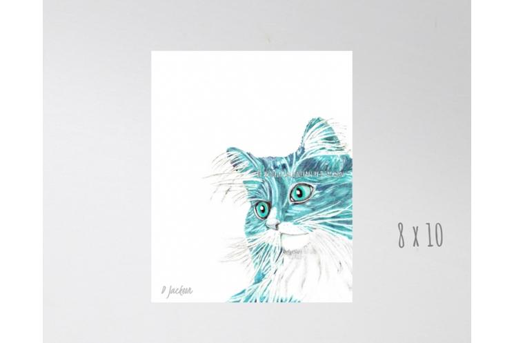 Aqua Long Haired Cat Contemporary Watercolor Art Print