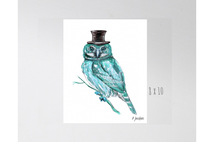 Aqua Owl in Top Hat Watercolor Art Print