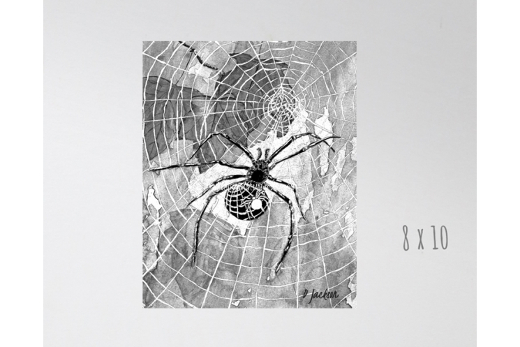 Black and White Halloween Spiders and Webs Watercolor Art Print