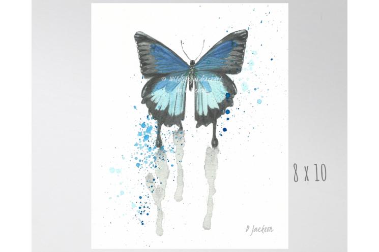 Blue Butterfly Watercolor Art Print