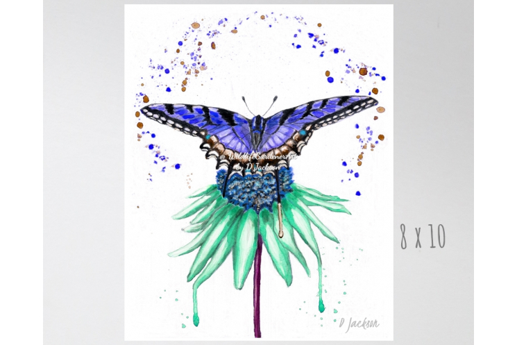 Blue Butterfly on Aqua Flower Watercolor Art Print
