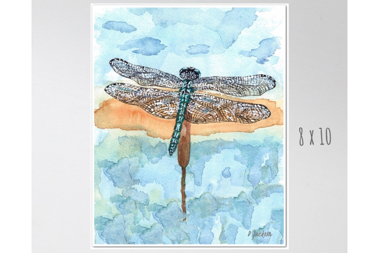 Blue Dragonfly Watercolor Art Print 8 x 10