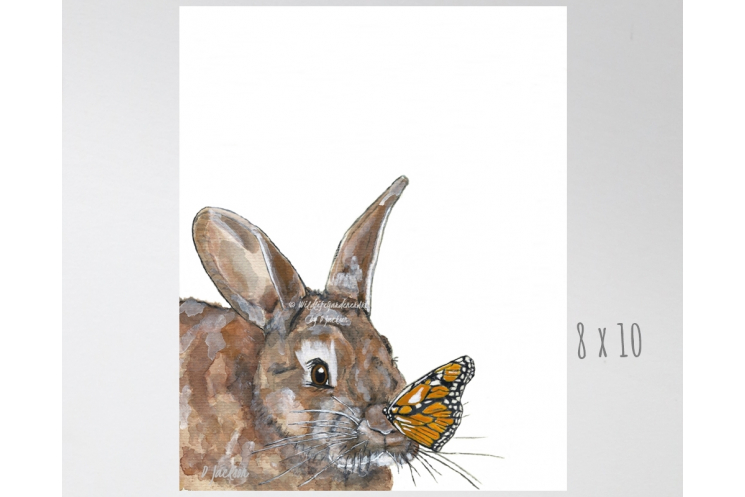 Bunny And Butterfly Watercolor Art Print Wildlife