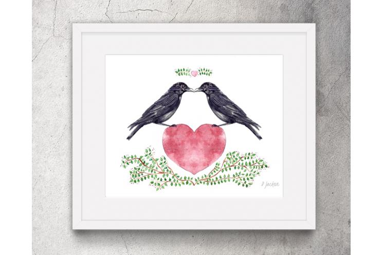 Crows Heart Watercolor Art Print
