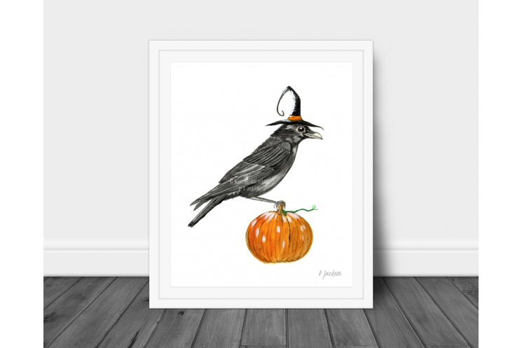 Halloween Crow Watercolor Art Print 8 x 10