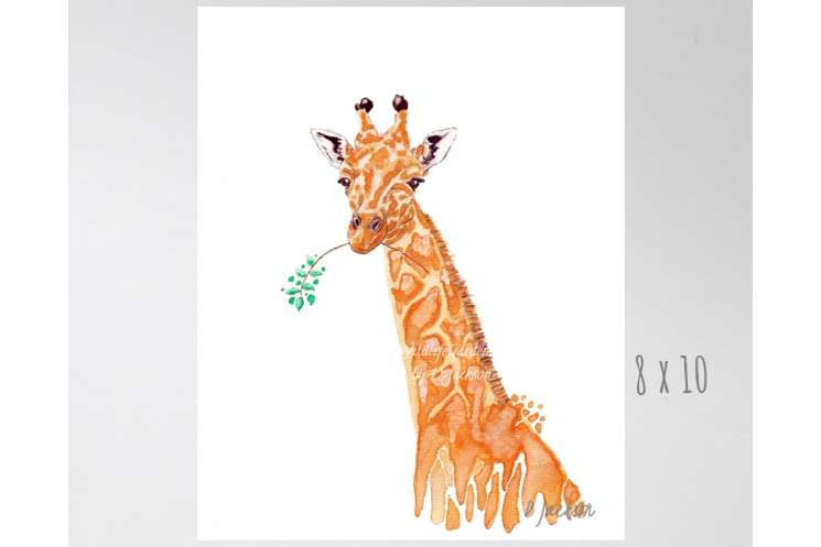 Orange Giraffe Watercolor Art Print