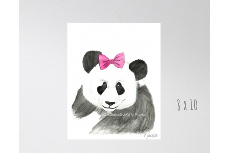 Whimsical Giant Panda Watercolor Art Print
