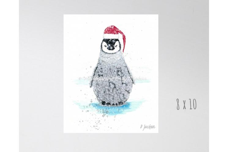 Christmas Penguin Santa Watercolor Art Print