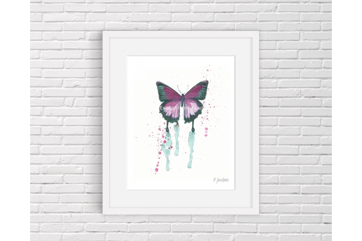 Pink Butterfly Watercolor Art Print