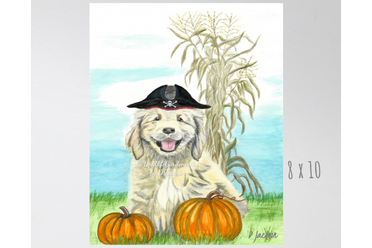Halloween Pirate Puppy Watercolor Art Print